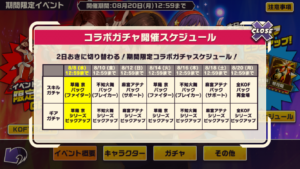 東京プリズンKOF'98コラボイベント_ガチャスケジュール